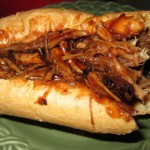 Spicy Pulled Pork BBQ Sandwich made with Slowcooker Pork Roast