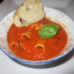 Spicy Cream of Tomato Soup with Chicken and Pasta