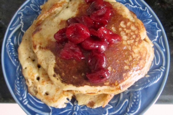 Granola Pancakes with Spicy Cherry Compote